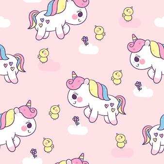 Seamless pattern unicorn pony and bird cartoon