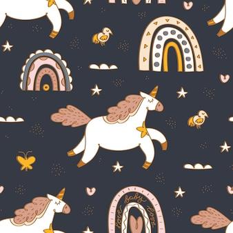 Seamless pattern unicorn, rainbow, bird and boho elements