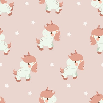 The seamless pattern of unicorn and star on the pink background.