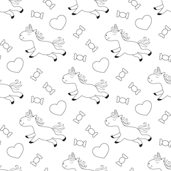 Seamless pattern of unicorn with sweets for kids