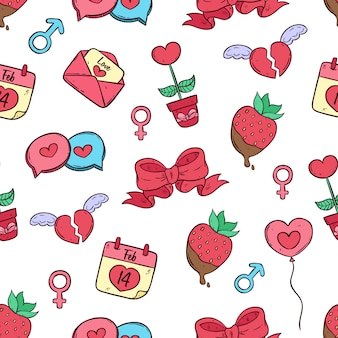 Seamless pattern of valentine day icons collection with colored doodle art