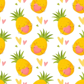 Seamless pattern for valentine's day. cute cartoon pineapple and colorful hearts.