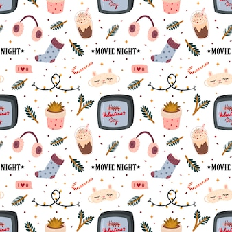 Seamless pattern for valentine's day with cute elements in romantic style.