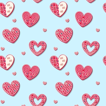 Seamless pattern for valentine's day with sweet cookies in the shape of heart. romantic pink baked sweets.