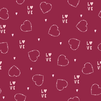 Seamless pattern for valentines day. cute romantic background.