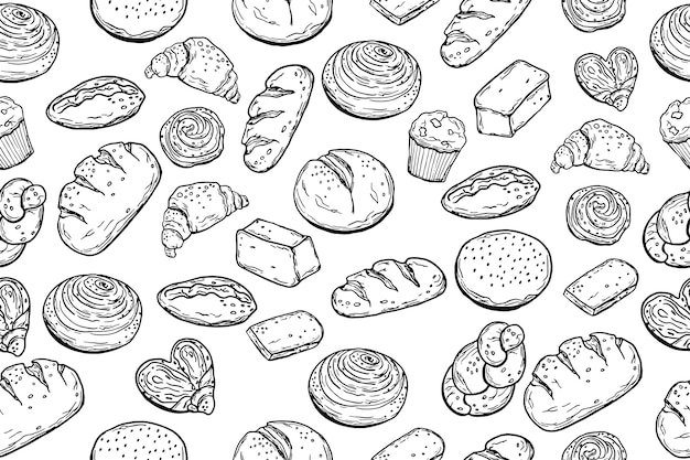 Seamless pattern. various baking. bread. doodle style. for your design.