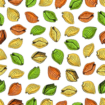 Seamless pattern of various kinds of pasta.