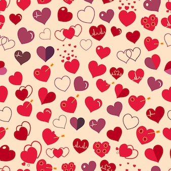 Seamless pattern of various simple red and maroon hearts on beige background. flat design