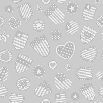 Seamless pattern of various usa symbols in gray colors on gray background