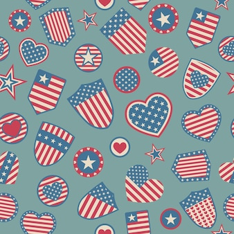 Seamless pattern of various usa symbols in red and blue colors on light blue background