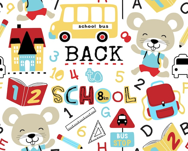 Seamless pattern vector of back to school theme
