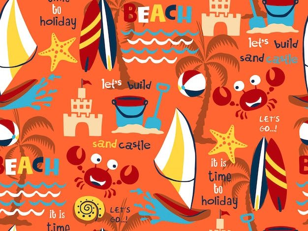 Seamless pattern vector of beach holiday theme set