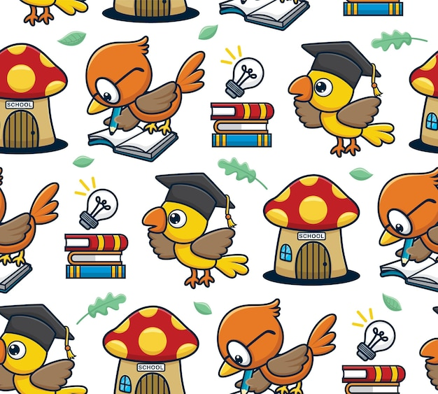 Seamless pattern vector of birds cartoon studying with mushroom house, books, bulb and leaves