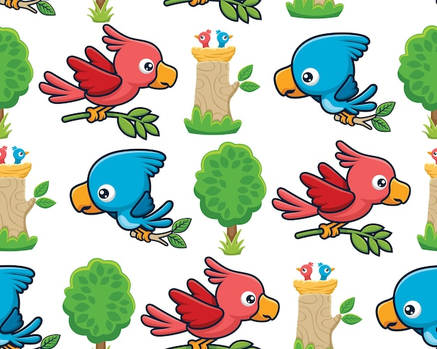 Seamless pattern vector of birds cartoon with its cubs in nest on tree
