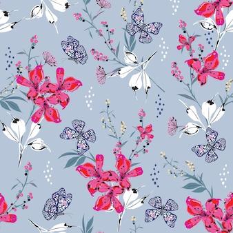 패션, 직물, 벽지 및 밝은 복고 파란색 배경색의 모든 인쇄물을 위한 다양한 종류의 식물 디자인에서 충격적인 핑크 꽃 식물이 피는 매끄러운 패턴 벡터