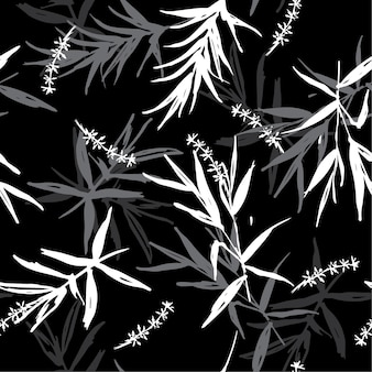 Seamless pattern vector of brush bamboo leaves  on black