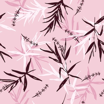 Seamless pattern vector of brush  bamboo leaves