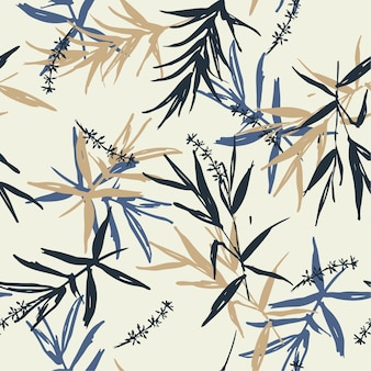 Seamless pattern vector brush blue and beige bamboo leaves
