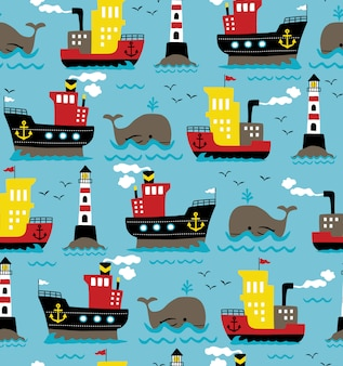 Seamless pattern vector of cargo ships with whale and lighthouse
