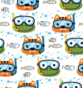 Seamless pattern vector of cat and frog wearing diving mask with fishes underwater