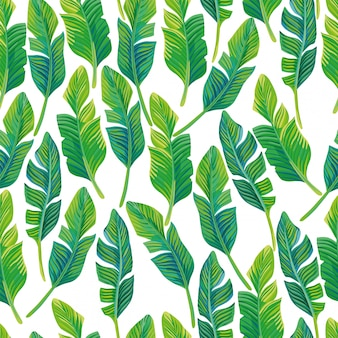 Seamless pattern vector composition of tropical palm leaves. beautiful tropical wallpaper