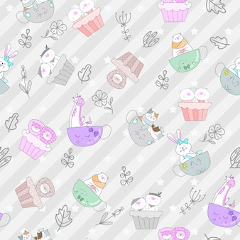 Seamless pattern vector cute animal cartoon