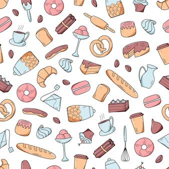 シームレスなパターン甘いスナックやペストリー、コーヒー料理のベクトル要素。カフェやメニューの飾り付けに最適です。落書きアイコンスタイル。