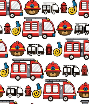 Seamless pattern vector of firefighter with firefighter elements