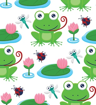 Seamless pattern vector of frog and bugs cartoon with lotus flower in the swamp