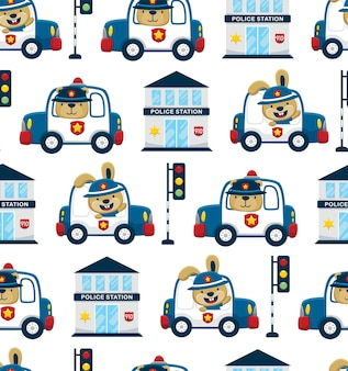 Seamless pattern vector of funny animals driving police car with police elements cartoon