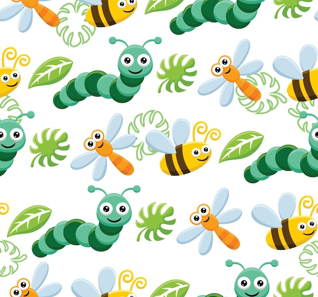 Seamless pattern vector of funny bugs cartoon