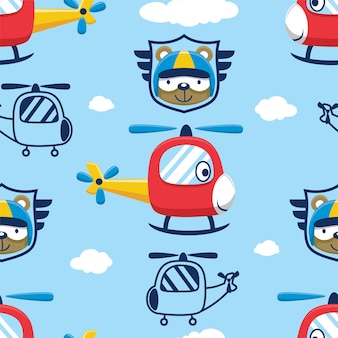 Seamless pattern vector of helicopter with bear face wearing pilot helmet