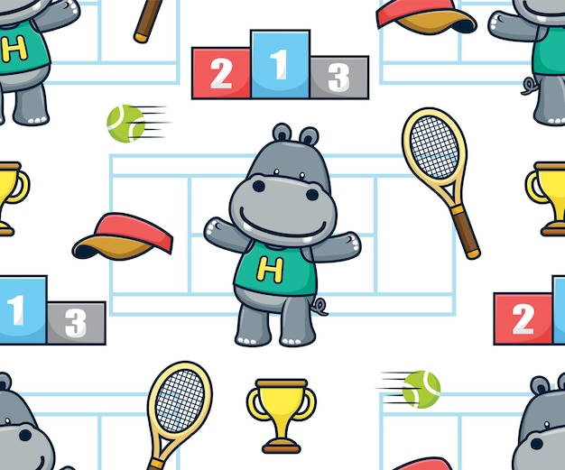 Seamless pattern vector of hippo cartoon with court tennis sport elements