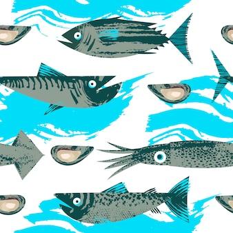 シームレスなパターン。海洋生物をテーマにしたベクトルイラスト。様々な魚、イカ、貝。ユニークなベクトル手描きテクスチャのイラスト。