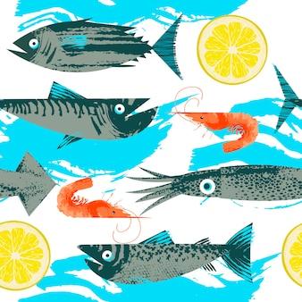 シームレスなパターン。シーフードをテーマにしたベクターイラストです。様々な魚、イカ、エビ、レモンスライス。ユニークなベクトル手描きテクスチャのイラスト。