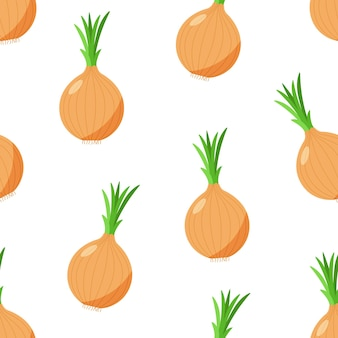 Seamless pattern vector illustration of an onion with green onion feathers. vegetable icon for the store, salad.