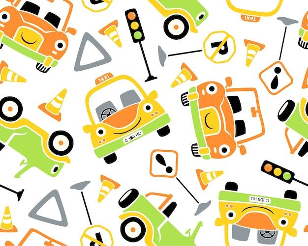 Seamless pattern vector illustration of vehicles cartoon