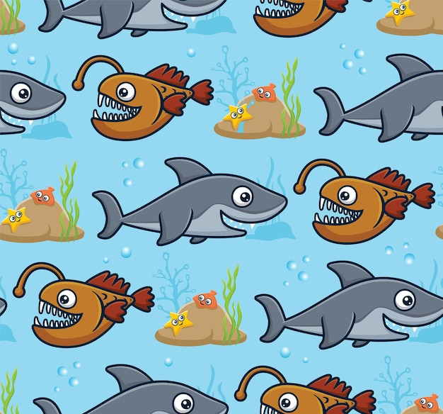 Seamless pattern vector of marine animals cartoon. anglerfish, shark with starfish and shellfish on coral reefs.