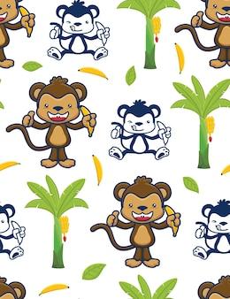 Seamless pattern vector of monkey cartoon holding banana with banana tree