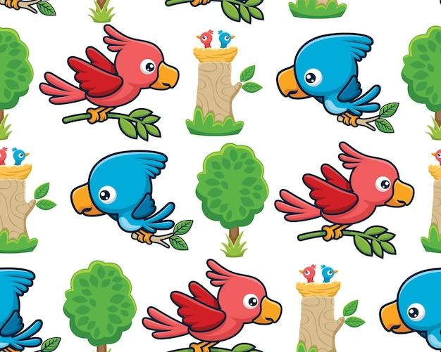 Бесшовный узор вектор мультяшныйов птиц с детенышами в гнезде на дереве