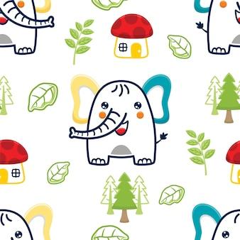 버섯 집과 식물 코끼리 만화의 원활한 패턴 벡터