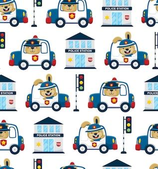 Бесшовный узор вектор забавных животных за рулем полицейской машины с полицейскими элементами мультфильма