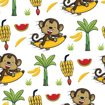 바나나 나무와 과일을 가지고 날아다니는 바나나를 타고 있는 재미있는 원숭이의 원활한 패턴 벡터