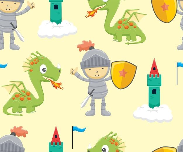 Бесшовный узор вектор из мультфильма рыцаря, держащего щит с забавным драконом и замком на облаке