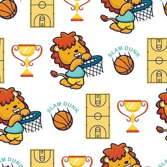 농구 요소와 농구를 하는 사자 만화의 원활한 패턴 벡터