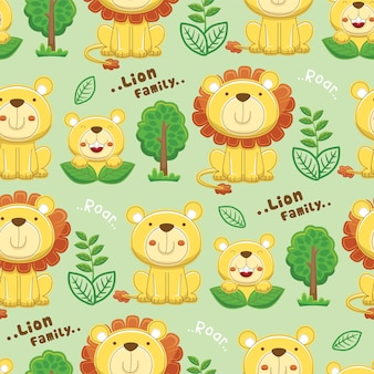 Бесшовный узор вектор мультфильма львиная семья с деревьями и растениями