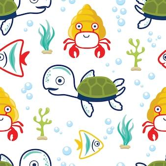 해양 동물 만화의 원활한 패턴 벡터입니다. 거북이, 물고기, 소라게