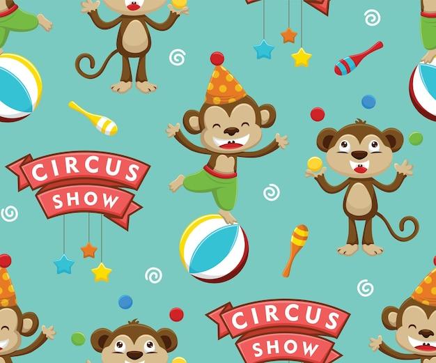 서커스 요소와 서커스 쇼에서 원숭이 만화의 원활한 패턴 벡터