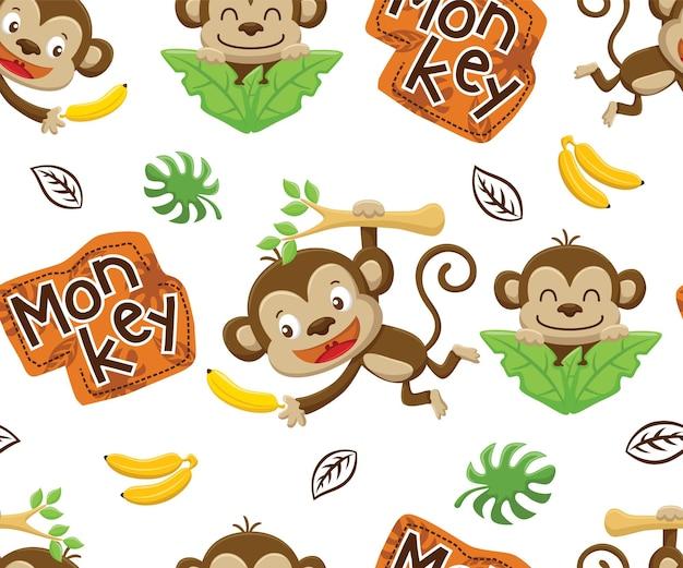 바나나와 원숭이 만화의 원활한 패턴 벡터