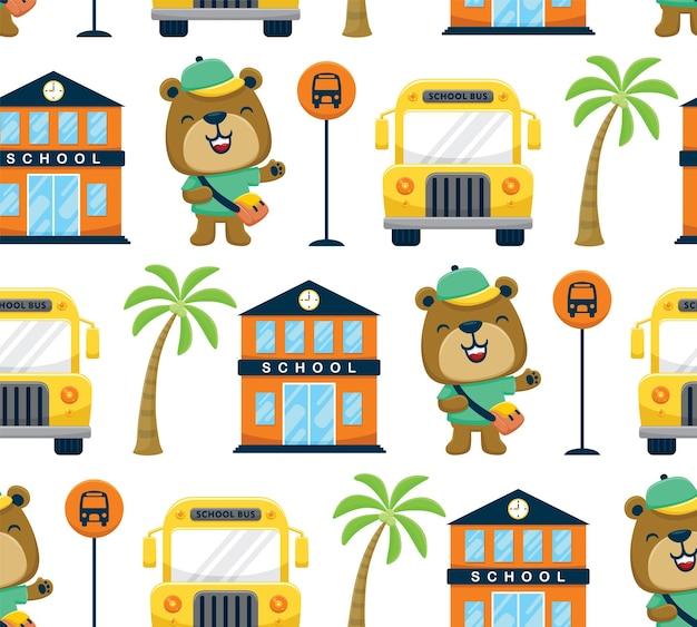 Бесшовный узор вектор школьных элементов мультфильма с забавным медведем